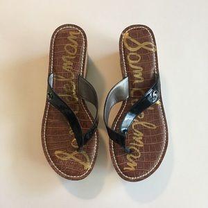 Sam Edelman platform cork heel black strap sandals